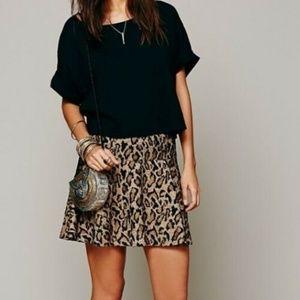 Free People Leopard Print A Line Mini Skirt